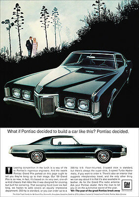 Pontiac 69 Grand Prix V8 Retro A3 Poster Print From Advert 1969
