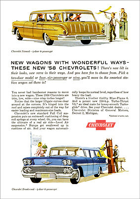 Chevrolet 58 Nomad Wagon & Brookwood Retro A3 Poster Print From Advert 1958