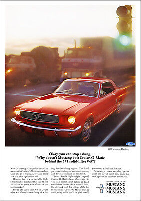 Ford Mustang Retro Poster A3 Print From 60's Advert 1966