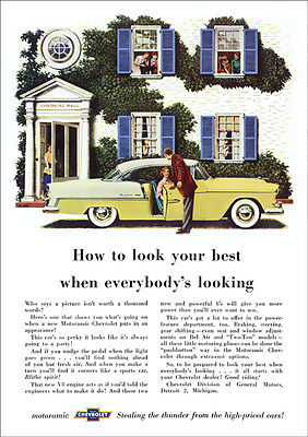 Chevrolet 55 Bel Air Retro A3 Poster Print From Classic Advert 1955