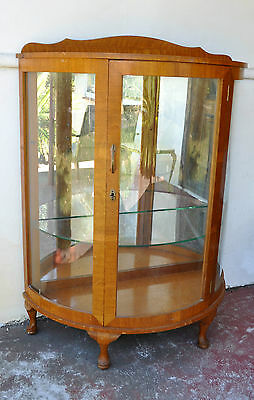 Antique Vintage 1930s Art Deco Curved Glass Display Cabinet Gorgeous Design Rare