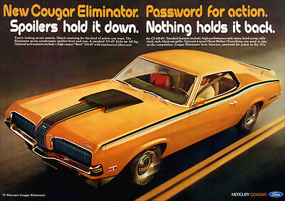 Mercury Cougar Eliminator 1970 Retro A3 Poster Print From Advert 1970