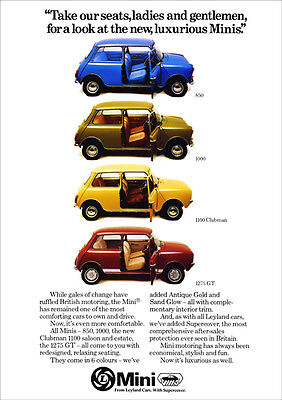 Mini Clubman 1275Gt 1100 1000 850 Range Retro A3 Poster Print From 70's Advert