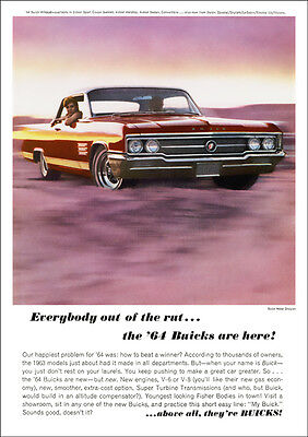 Buick Wildcat 64 Retro A3 Poster Print From Classic Advert 1964