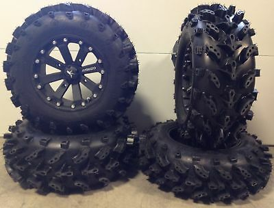 "MSA Black Kore 14"" ATV Wheels 28"" Swamp Lite Tires Polaris Ranger 900 XP"