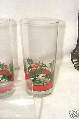 (3) Libbey Glass Crystal  Red Band Christmas Holly Berries 15 oz  glasses
