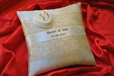 PERSONALISED wedding ring cushion/pillow ring box- tulle GOLD or SILVER 20x20cm