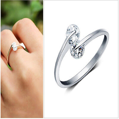 925 Silver Plated ring finger fashion women  Ring opening Adjustable GIFT Cus