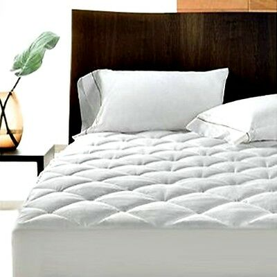 "Extra Deep Poly Cotton Quilted Mattress Protector 12"" Fitted Bed Cover:all Sizes"
