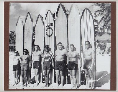 "Kahanamoku Friends/brother 1927? Waikiki Hand Printed Photo On 8X10"" Mat Board"