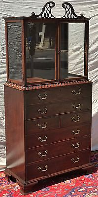 Early 20Th Century Chinese Chippendale Mahogany Butler's Desk Vitrine Bookcase