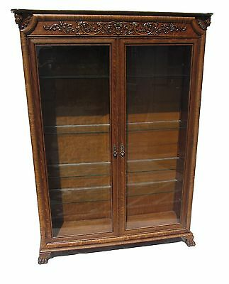 19Th C Victorian Tiger Oak Carved Antique Bookcase / China Cabinet ~~ Horner Nyc