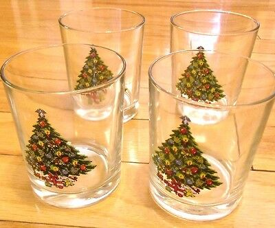 HOLIDAY ON THE ROCKS GLASSES SET OF 4 VINTAGE USED ONLY ONCE MINT