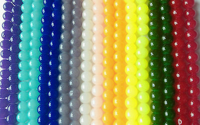 8mm Jade Style Glass Beads Strands Jewellery Making 10 Colours 100 pcs/strand