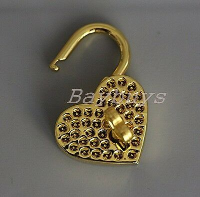 2 Pieces Vtg old look Heart Shaped Padlock & Skeleton Key Wedding Bow Lock Gold