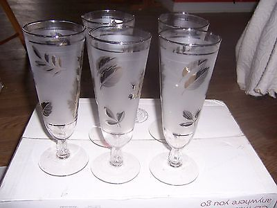 5vintage Frosted Wine Glasses With Silver Leaves Flute Style
