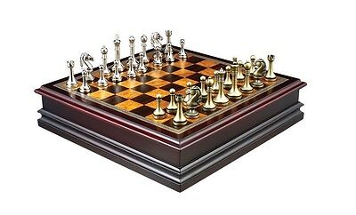"""Chess Board Game Inlaid Lift Up Storage METAL Pieces 12"""" Set Burl- Ebony Wooden"""