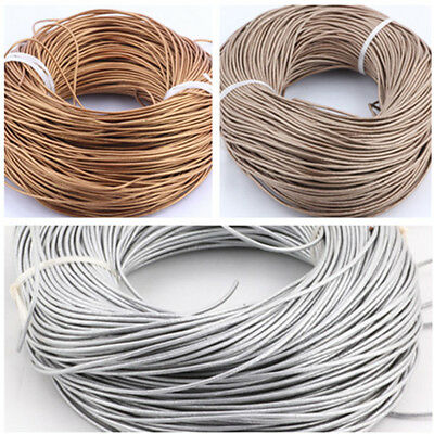 Genuine 1.5mm Real Round Leather Cord Metallic For DIY Jewelry 5 10 50 100 M