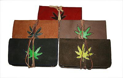 Genuine Leather Handmade Tobacco pouch with String - Spiral Star Om Moon designs