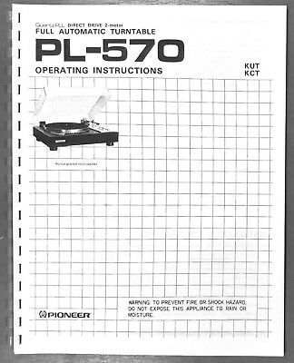pioneer pl 570 turntable owners manual 9 45 picclick rh picclick com pioneer owners manuals online pioneer owners manual deh 3200ub