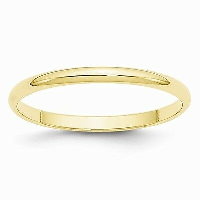 10K Solid Yellow Gold 2mm Plain Men's and Women's Wedding Band Ring Sizes 4-14