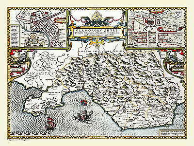 Map Of County Of Glamorganshire 1611 By John Speed