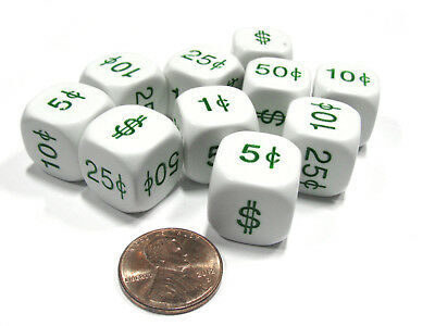 Set of 10 D6 16mm Educational Money Dollar and Cents Dice - White with Green