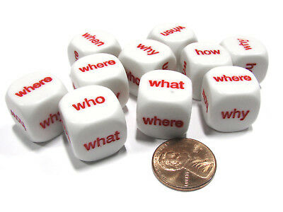 Set of 10 D6 16mm Educational English Interrogative Questions Dice- White w/ Red