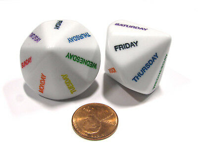 Set of 2 D14 Days of the Week Educational Dice - White with Assorted Numbers