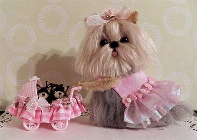 OOAK  Yorkie Mama dog with puppies in  carriage soft sculpture  *CTD*