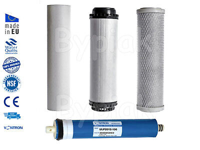 4 Stage Reverse Osmosis RO Unit Complete Filters Replacement 50 GPD