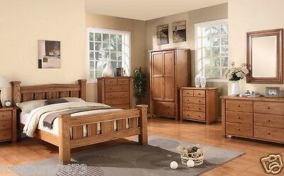 Solid Oak 7 Piece Bedroom Set. Bed, Chests, Wardrobe, Bed Cab, Mirror MICHIDEAN