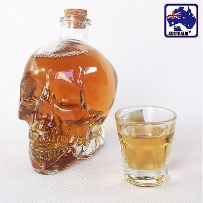 2x 4x Skull Vodka Whiskey Wine Bottle Bar Decanter 350ml Clear Glass HWIBT55