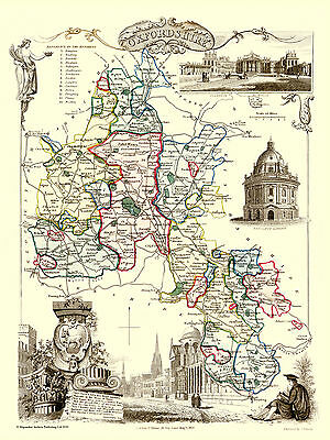 County Map Of Oxfordshire 1836 By Thomas Moule