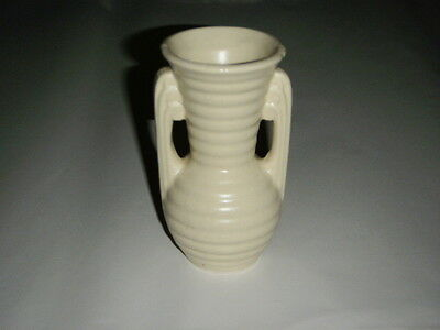 "Camark 5.25"" Vase Ivory & Brown Speckled Art Deco Horozontal Lines With Handles"