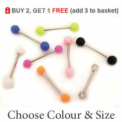 Tongue Bar Piercing Straight Barbell Ring Surgical Steel Colour ACRYLIC Ball 14G