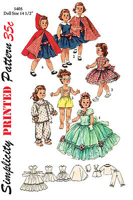 14 1/2 inch Doll Clothes Sewing Pattern - Toni Doll , etc Simplicity 1405