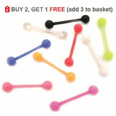 Tongue Bar Bioflex Bioplast Straight Barbell Acrylic Ring 14G 16mm Balls Colours