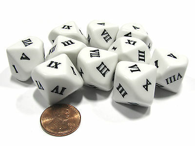 Set of 10 D10 Ten-Sided Roman Numerals Dice, I-X - White with Black Letters