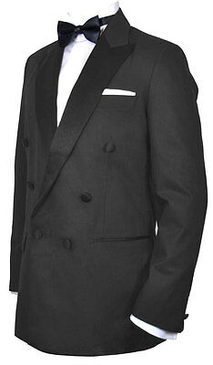 Tuxedo Jacket Black Double Breasted - Dinner, Prom - Ex Hire