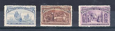 United States 1893 Columbian Exhibition 4c, 5c and 6c MM