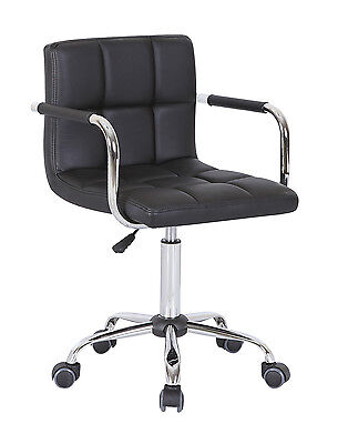 Office Swivel Chair PU Leather Computer Desk Chairs Salon Bar Stools Black Home