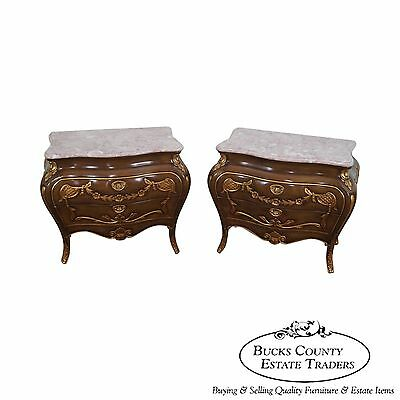 Quality Pair of Bombe Marble Top Chests Nightstands