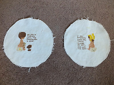Collectible Needlepoint Sampler Complete Set 2 Bathroom Potty Quotes CUTE