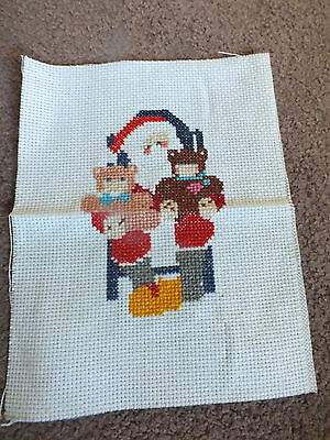 Collectible Needlepoint Sampler Cross Stitch Santa Holding Bears Small CUTE