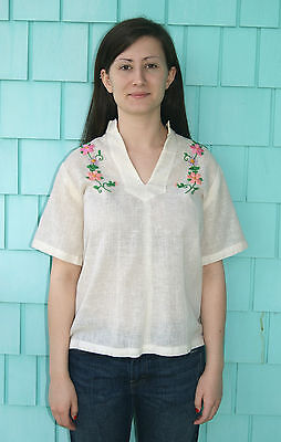 Vintage 1960's Embroidered Mod Hippie Blouse Shirt Top