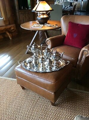 """Huge 38"""" Sterling Silver Tray with tea set"""