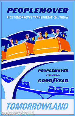 Anaheim California Disney People Mover United States Travel Advertisemnt Poster