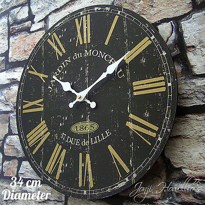 Large Vintage Shabby Chic Style  BLACK FRENCH design wall CLOCK rustic clock