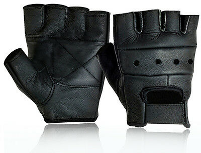 Mens Leather Fingerless Driving Motorcycle Biker Gloves